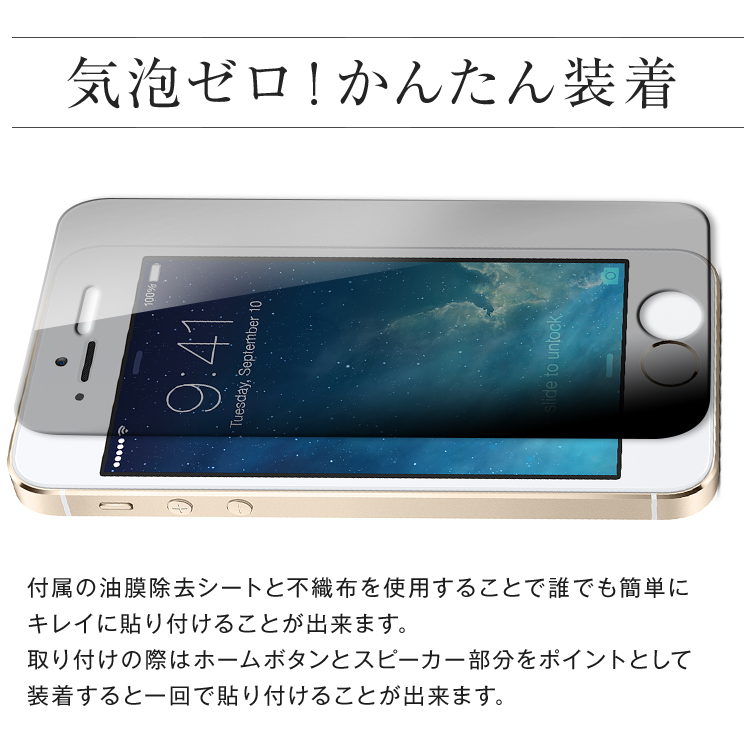 iPhoneSE 5/5S 覗き見防止&強化ガラスフィルム